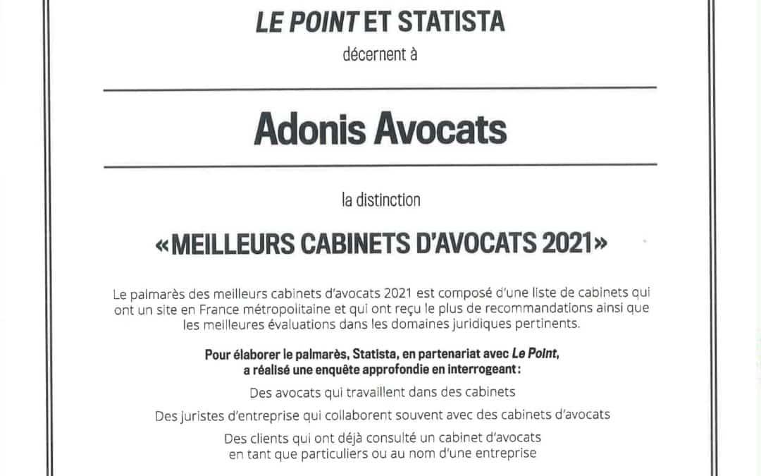 Adonis Avocats « Meilleurs cabinets d'avocats 2021 »