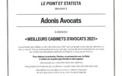 Adonis Avocats distingué parmi les « Meilleurs cabinets d'avocats 2021 »